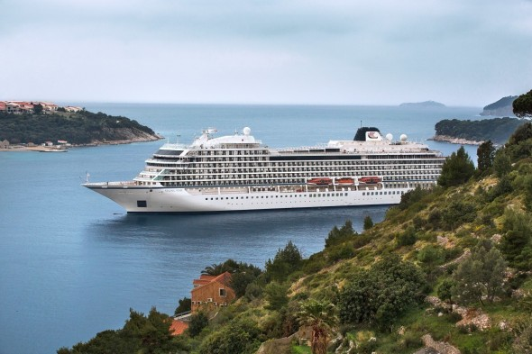 The recently christened Viking Star, Viking Ocean Cruises' first ship, sailing through Dubrovnik.